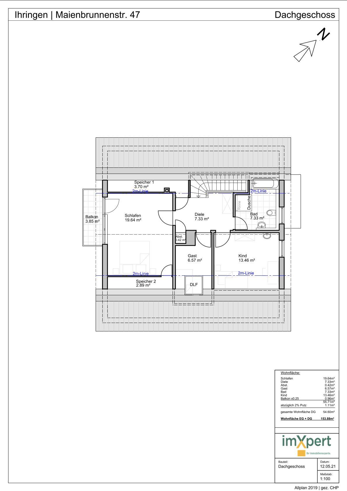 Einfamilienhaus in Ihringen - Grundriss Dachgeschoss