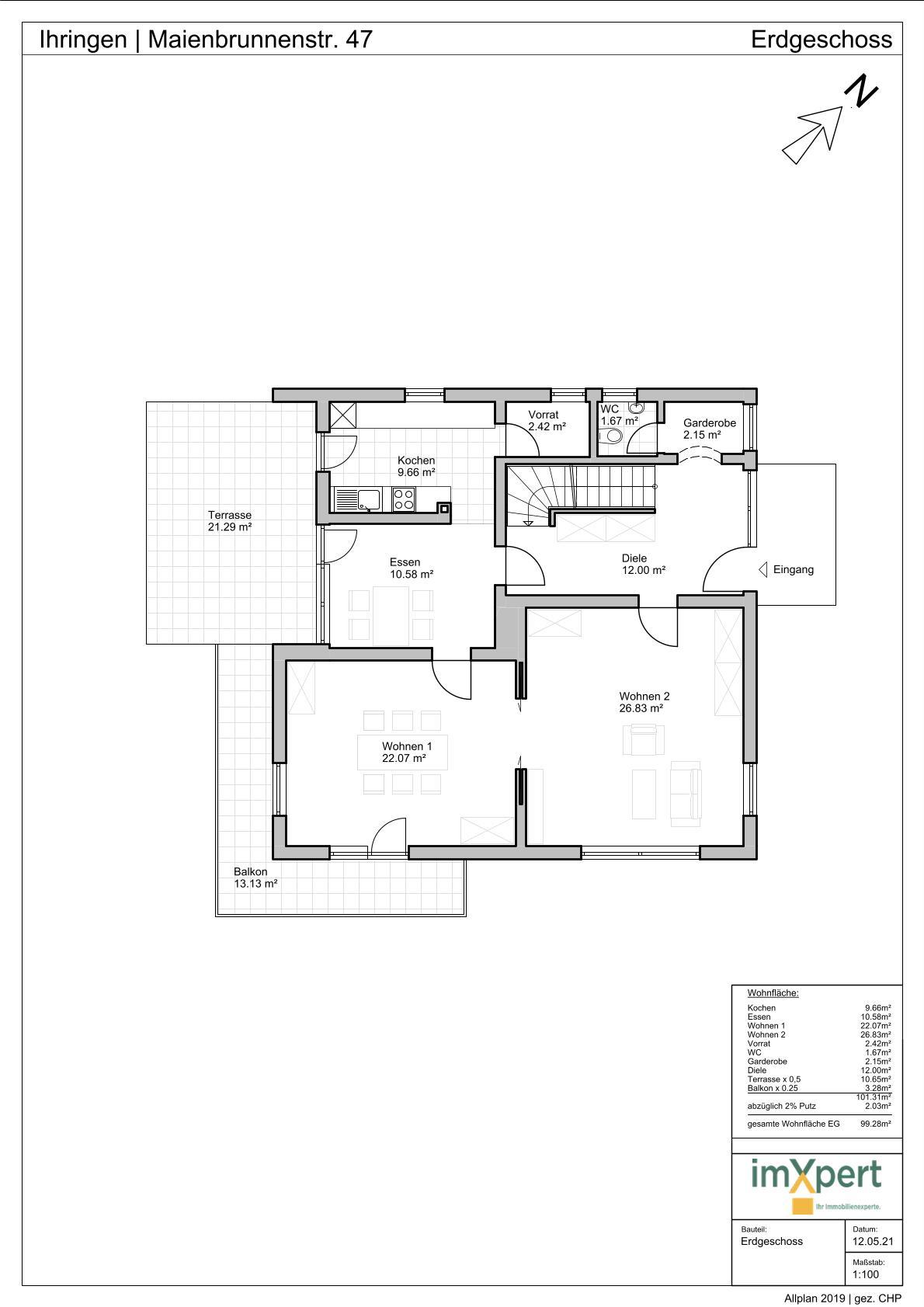 Einfamilienhaus in Ihringen - Grundriss Erdgeschoss