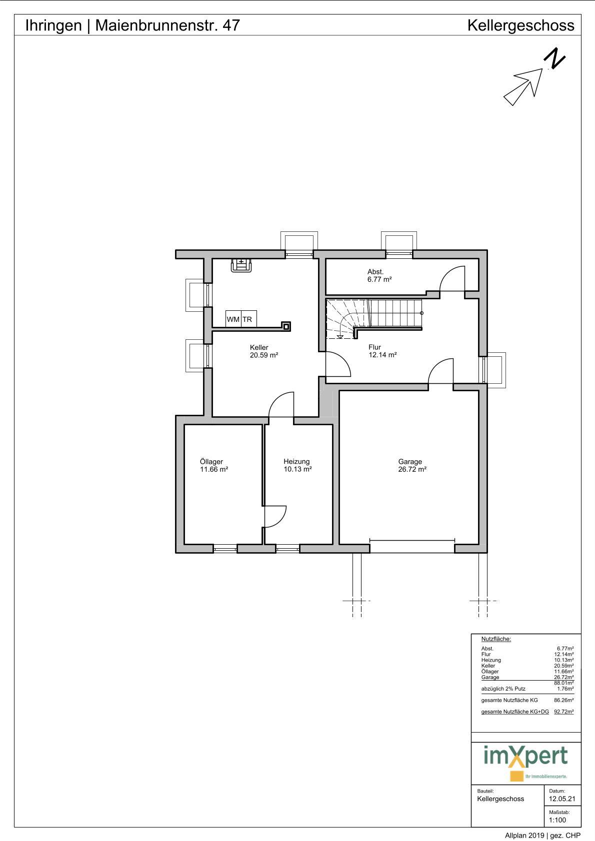 Einfamilienhaus in Ihringen - Grundriss Kellergeschoss